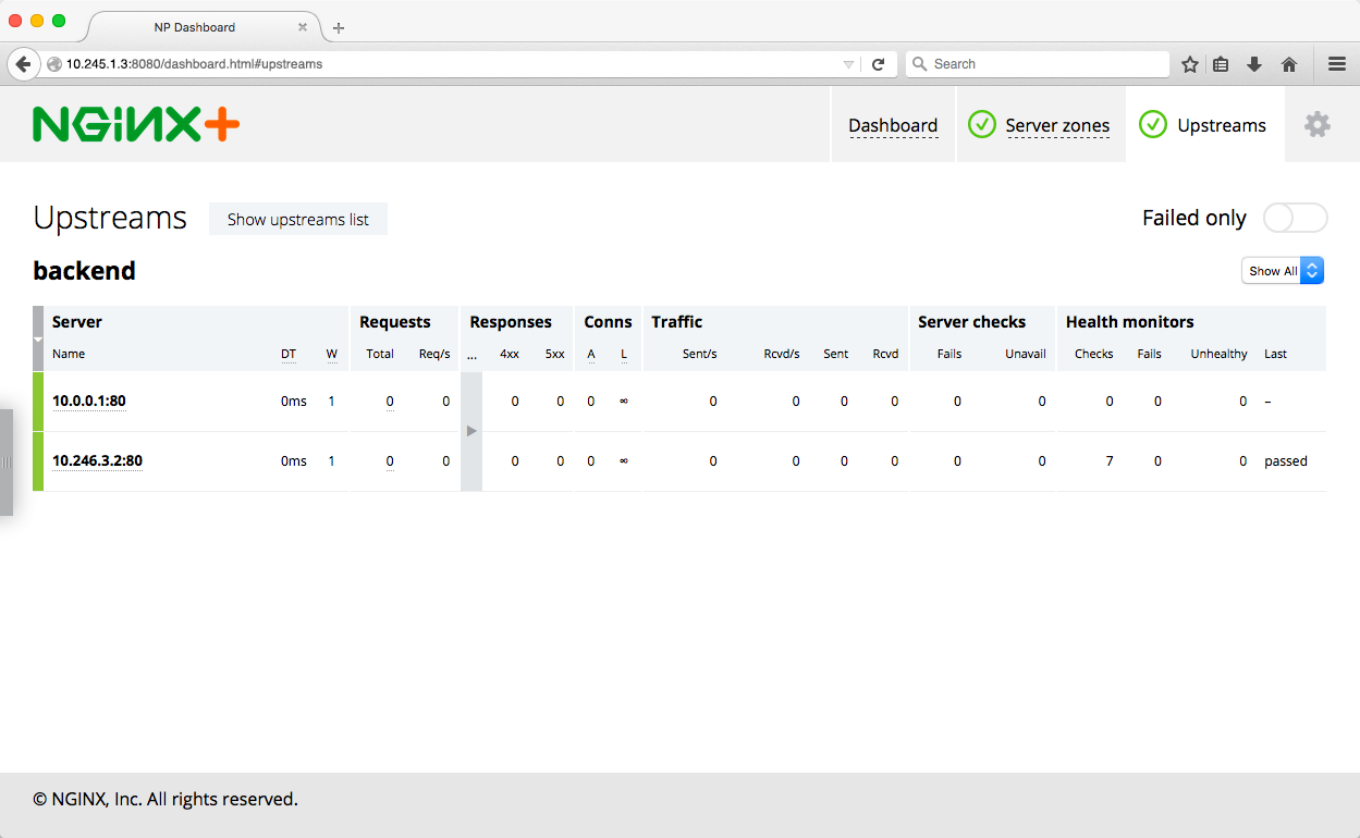 he NGINX Plus live activity monitoring dashboard after the Kubernetes services are created
