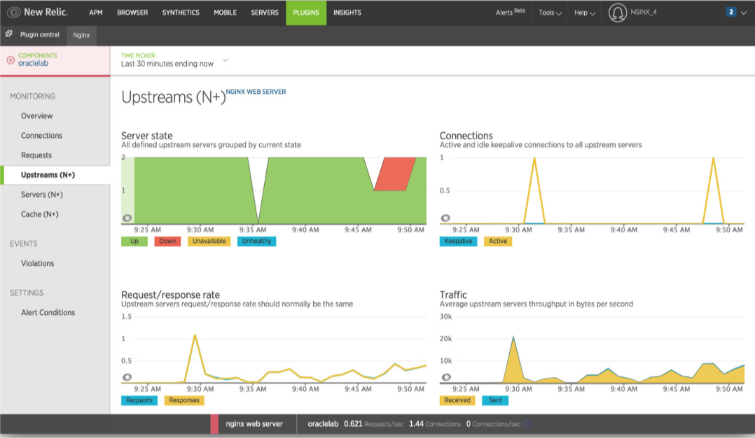 Upstreams page in New Relic with NGINX plug-in