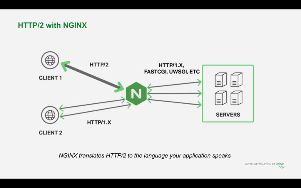 NGINX and NGINX Plus for Drupal 8 support HTTP/2 client traffic and translate to HTTP/1 or any other CGI-like protocol your Drupal server uses [NGINX webinar about Drupal 8 performance, Feb 2016]