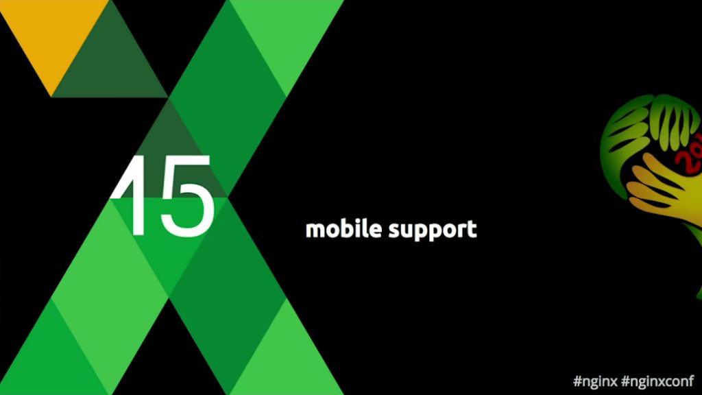 Title slide for 'Mobile support' section - hls for live video streaming [Globo.com presentation at nginx.conf2015]