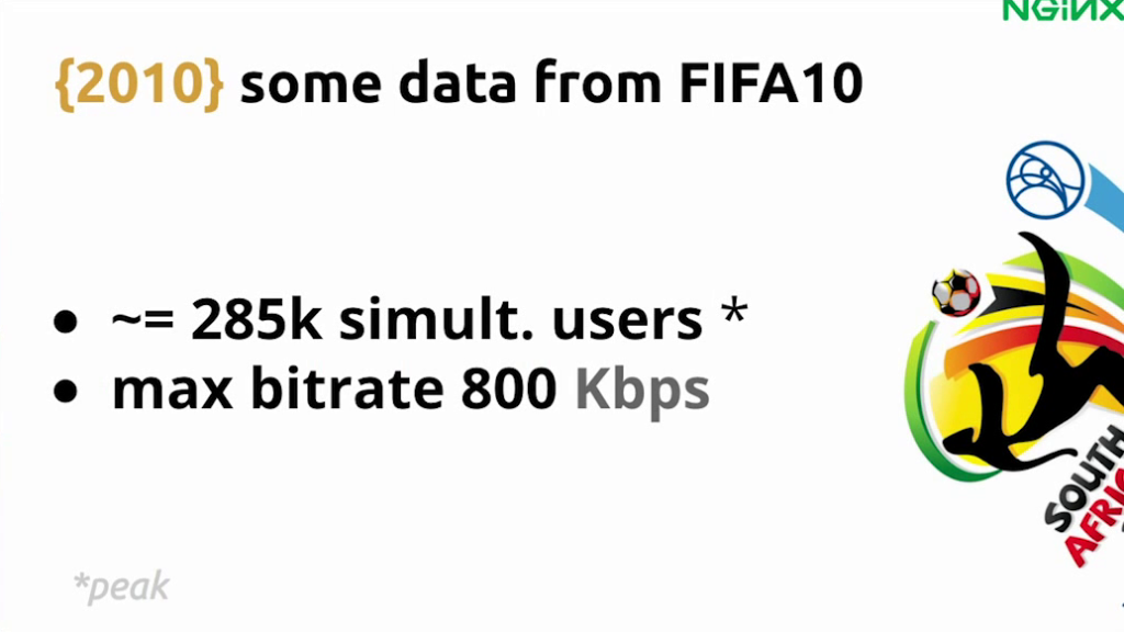The infrastructure for FIFA World Cup 10 in 2010 serviced 285,000 simultaneous users at a maximum bitrate of 800 Kbps - live video streaming [Globo.com presentation at nginx.conf2015, Sep 2015]