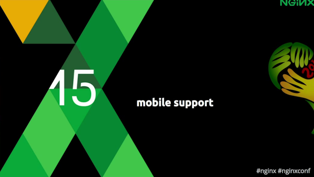 Title slide for 'Mobile support' section - hls for live video streaming[Globo.com presentation at nginx.conf2015, Sep 2015]