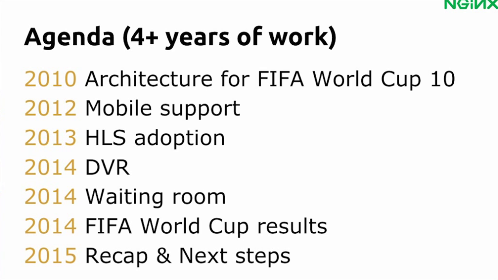 Agenda for presentation about Globo.com's live video streaming platform for FIFA World Cup 14 [nginx.conf2015, Sep 2015]