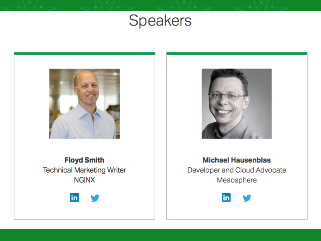 Slide with photos of presenters: Floyd Smith from NGINX and Michael Hausenblas of Mesosphere [NGINX webinar about connecting applications with NGINX and Docker to include the microservices architecture and load balancing, Apr 2016]