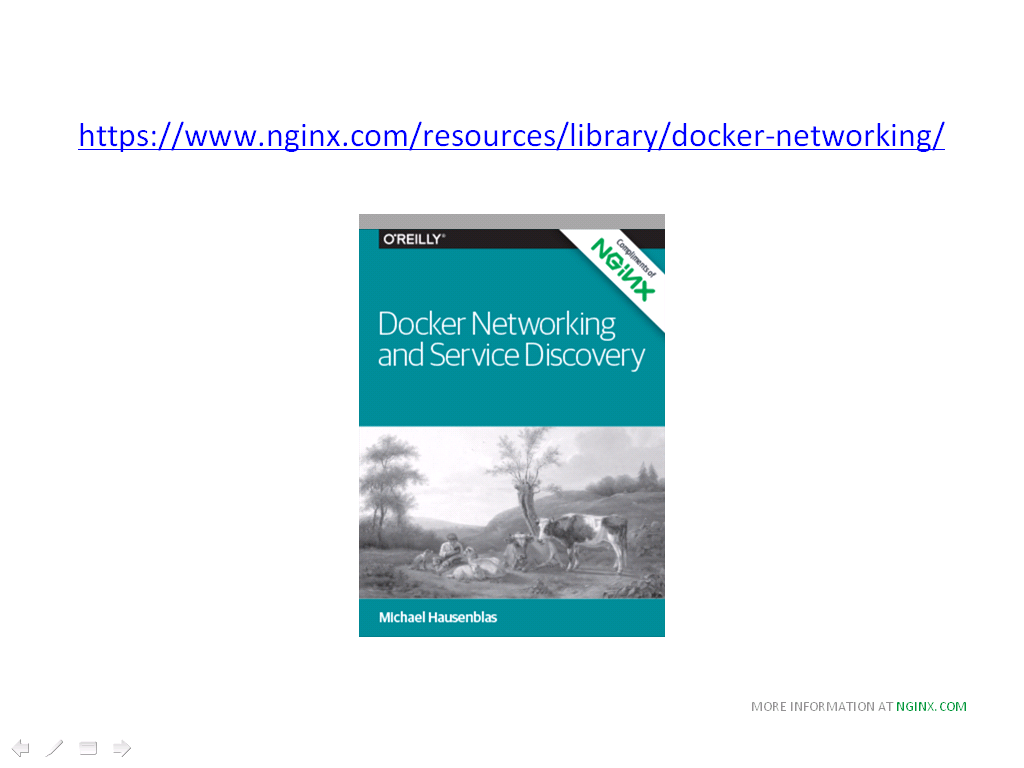 OReilly book about Docker networking and Service Discovery [NGINX webinar about connecting applications with NGINX and Docker to include the microservices architecture and load balancing, Apr 2016]