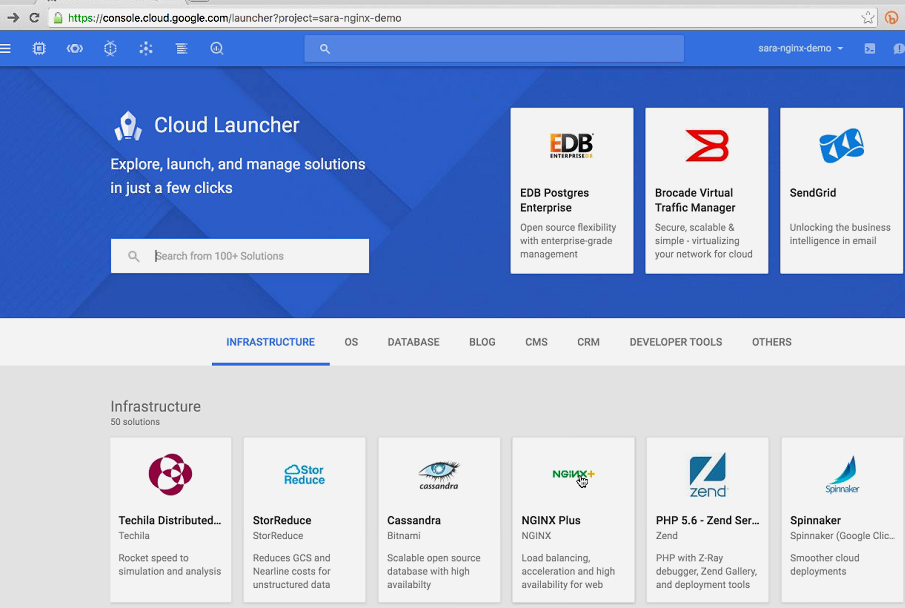 Screenshot of Cloud Launcher landing page, showing multiple 'Infrastructure' projects available [webinar 'Deploying NGINX Plus & Kubernetes on Google Cloud Platform' includes information on how switching from a monolithic to microservices architecture can help with application delivery and continuous integration - broadcast 23 May 2016]