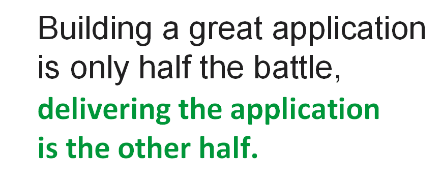 "Slide reads 'Building a great application is only half the battle; delivering the application is the other half.' [webinar ""Deploying NGINX Plus & Kubernetes on Google Cloud Platform"" includes information on how switching from a monolithic to microservices architecture can help with application delivery and continuous integration - broadcast 23 May 2016]"