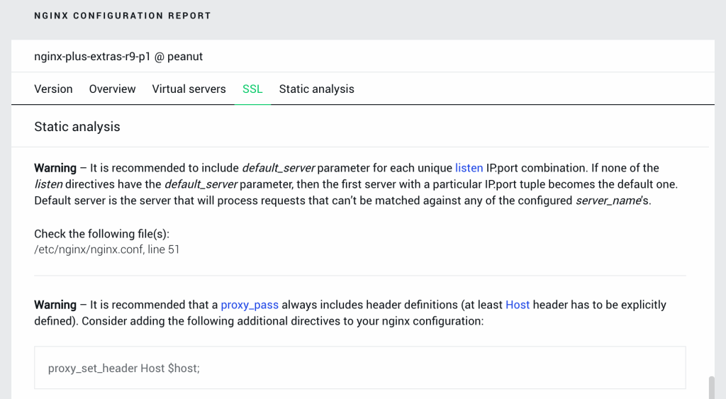Screenshot of NGINX Amplify configuration report with results of static analysis regarding worker_processes directive and default_server parameter to listen directive