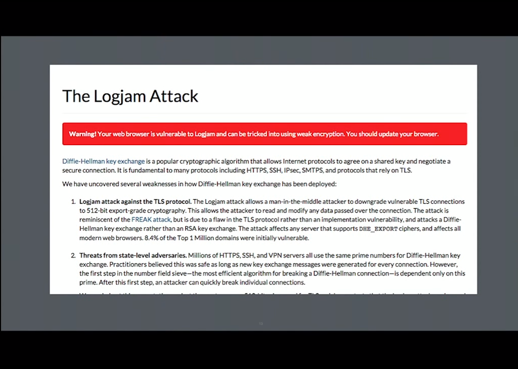 The Logjam Attack is an example of you why have to keep up with TLS configuration best practices, or else you may not have a secure NGINX HTTPS website [presentation given by Yan Zhu and Peter Eckersley from the Electronic Frontier Foundation (EFF) at nginx.conf 2015]