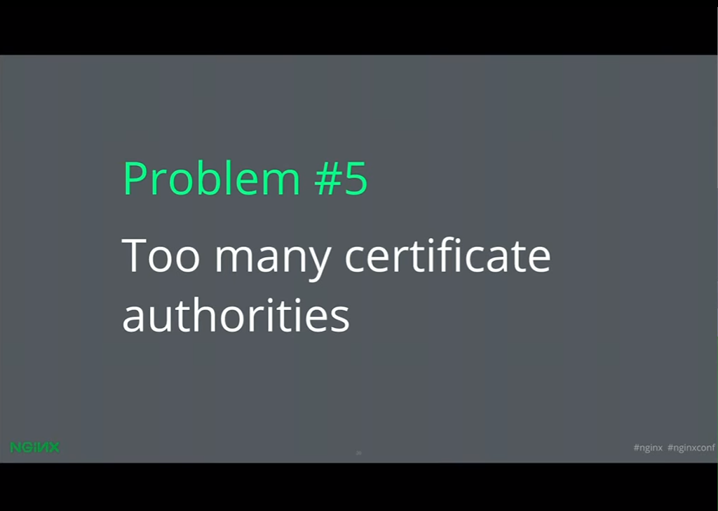 There are too many certificate authorities, making it hard to decide who to choose to give your website HTTPS with NGINX [presentation given by Yan Zhu and Peter Eckersley from the Electronic Frontier Foundation (EFF) at nginx.conf 2015]