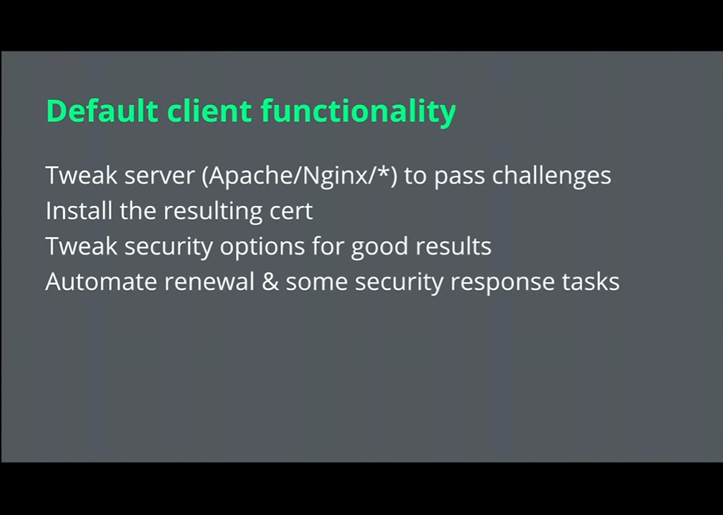 Let's Encrypt tweaks NGINX to pass challenges and automates the renewal of HTTPS for your website [presentation given by Yan Zhu and Peter Eckersley from the Electronic Frontier Foundation (EFF) at nginx.conf 2015]