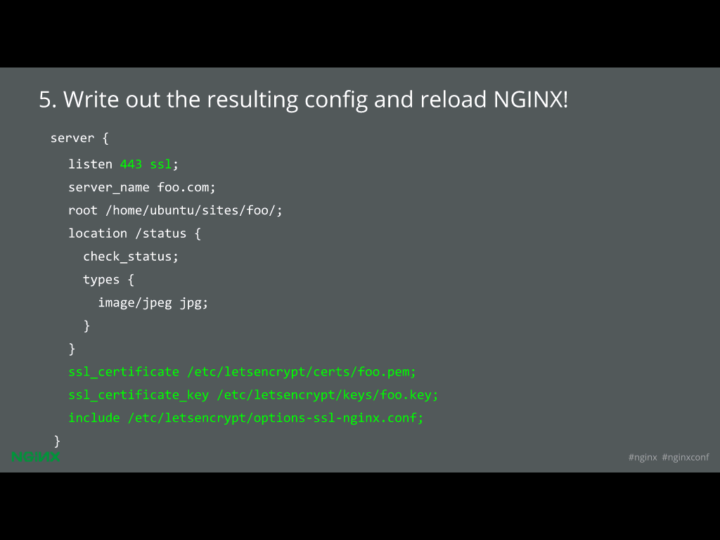 Next, Let's Encrypt dumps the whole thing back into your config file to achieve website security through HTTPS [presentation given by Yan Zhu and Peter Eckersley from the Electronic Frontier Foundation (EFF) at nginx.conf 2015]