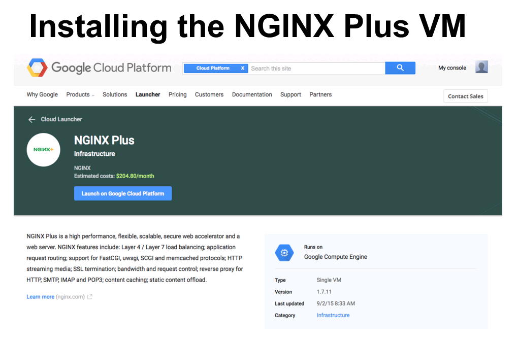 "Screen shot of Cloud Launcher landing page for installing NGINX Plus on GCP [webinar ""Deploying NGINX Plus & Kubernetes on Google Cloud Platform"" includes information on how switching from a monolithic to microservices architecture can help with application delivery and continuous integration - broadcast 23 May 2016]"