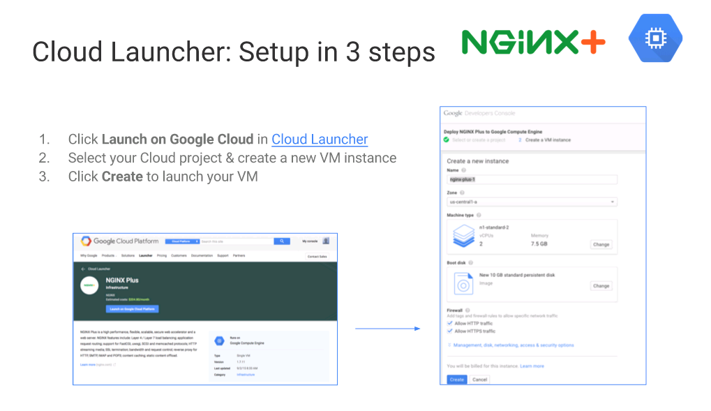 "With Cloud Launcher, it's just three steps to set up NGINX Plus in a VM on Google Cloud Platform [webinar ""Deploying NGINX Plus & Kubernetes on Google Cloud Platform"" includes information on how switching from a monolithic to microservices architecture can help with application delivery and continuous integration - broadcast 23 May 2016]"