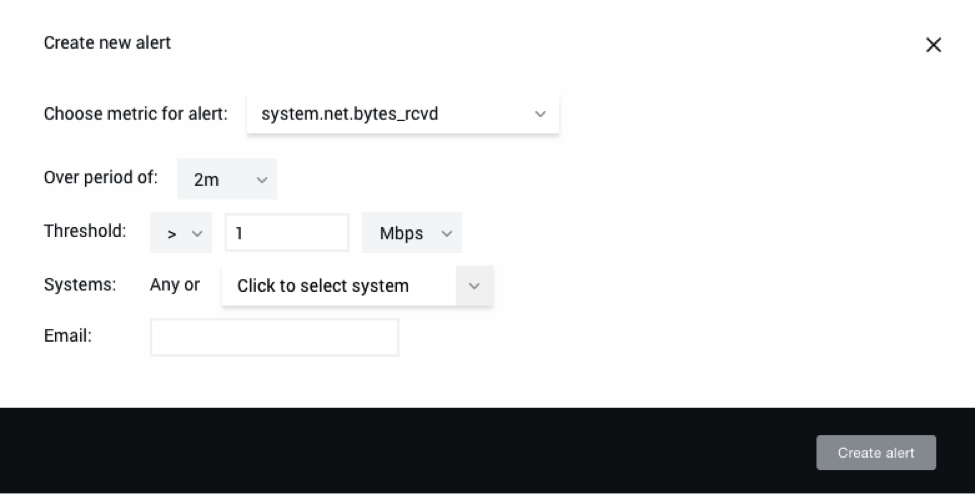 In the 'Create new alert' dialog in NGINX Amplify, you create a custom alert by defining the metric, time period, threshold, system name, and recipient of the alert email [how to monitor NGINX with NGINX Amplify]