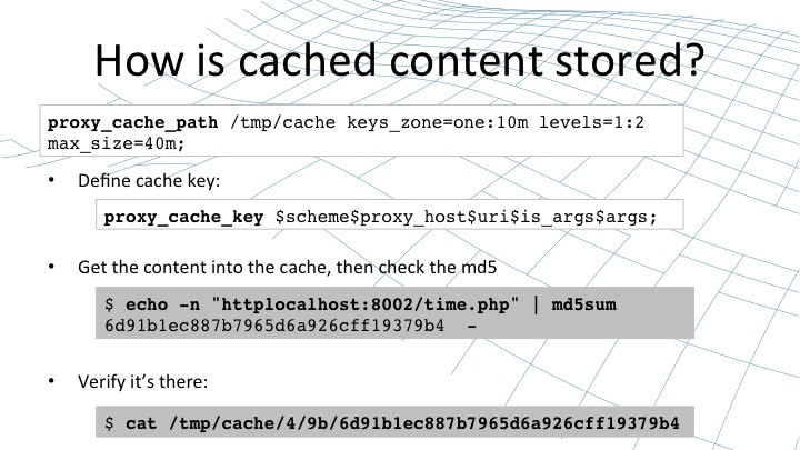 How is cached content stored? [webinar by Owen Garrett of NGINX]