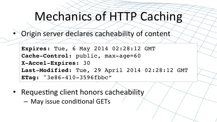The mechanics of NGINX caching describe from an origin server how content is cacheable [webinar by Owen Garrett of NGINX]