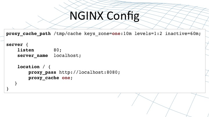 NGINX configuration code needed to configure content caching [webinar by Owen Garrett of NGINX]