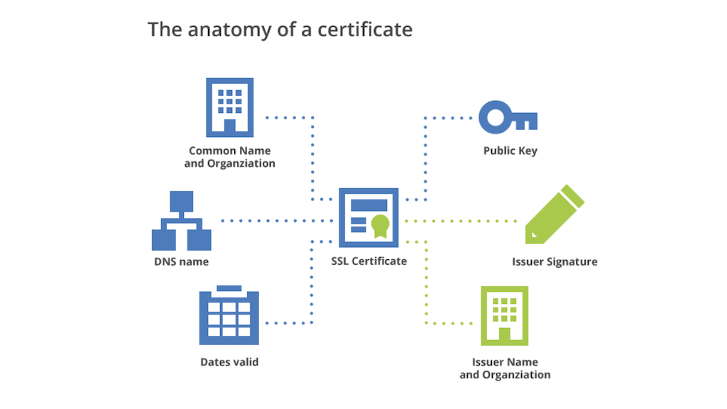 A graphic depiction of a certificate's contents: A security certificate includes the organization's name, a public key, the issuer name, the validity period, and the issuer's digital signature - all to provide website security through HTTPS [presentation by Nick Sullivan of CloudFlare at nginx.conf 2015]