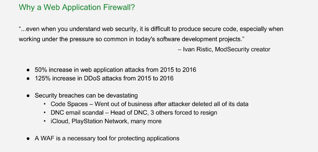A web application firewall (WAF) is crucial for providing application security: in 2015 there was a 50% increase in attacks on applications and a 125% increase in DDoS attacks