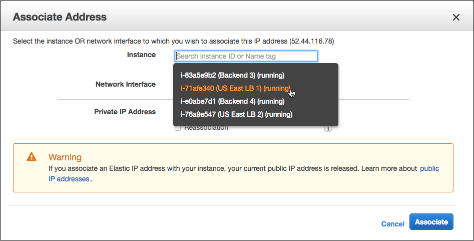 Screenshot of the interface for associating an AWS EC2 instance with an elastic IP address, which is a prerequisite to configuring AWS global load balancing (GLB) with NGINX Plus