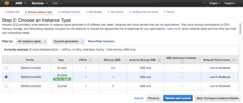 Screenshot of the interface for choosing an AWS EC2 instance type