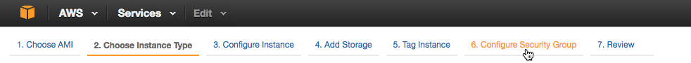 Screenshot showing how to access the interface for configuring the security group for an AWS EC2 instance