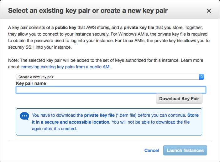 Screenshot of the interface for naming the key pair for a new AWS EC2 instance as a prerequisite to configuring AWS global load balancing (GLB) with NGINX Plus