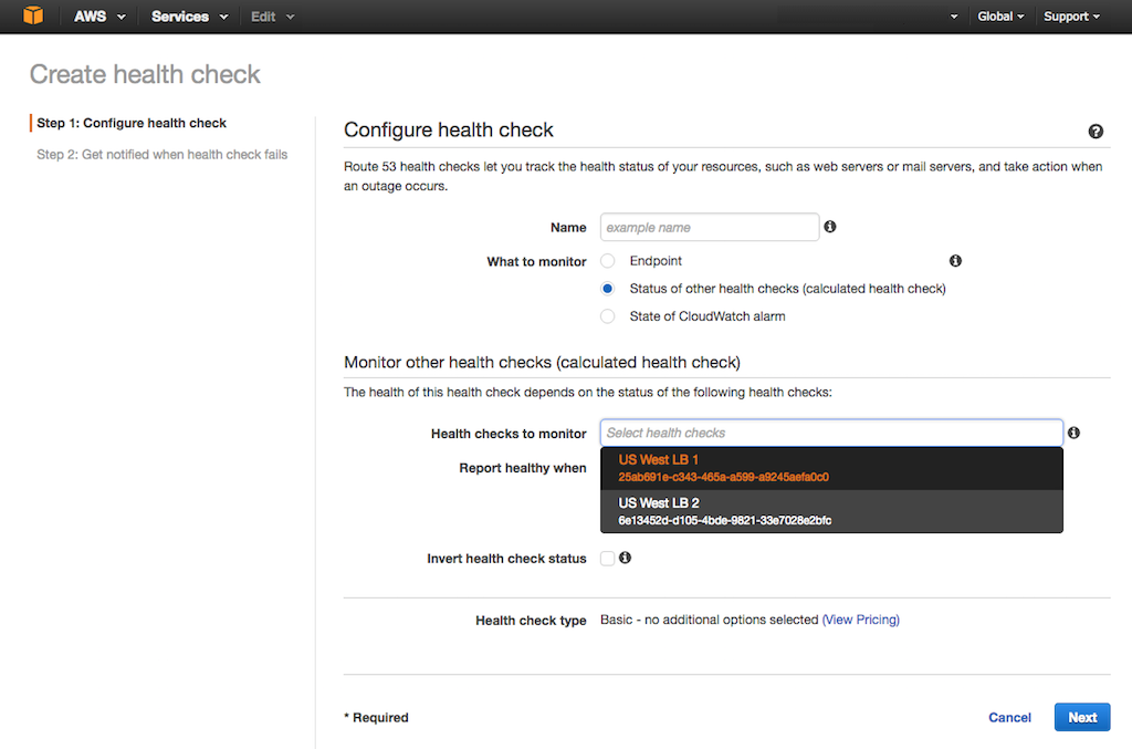 Screenshot of Amazon Route 53 interface for configuring a health check of combined other health checks, during configuration of global server load balancing (GSLB) with NGINX Plus