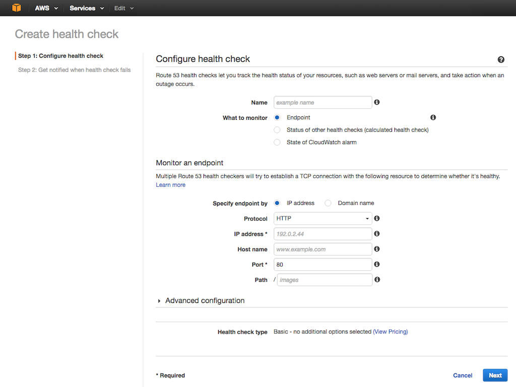 Screenshot of Amazon Route 53 interface for configuring health checks, during configuration of AWS global load balancing (GLB) with NGINX Plus