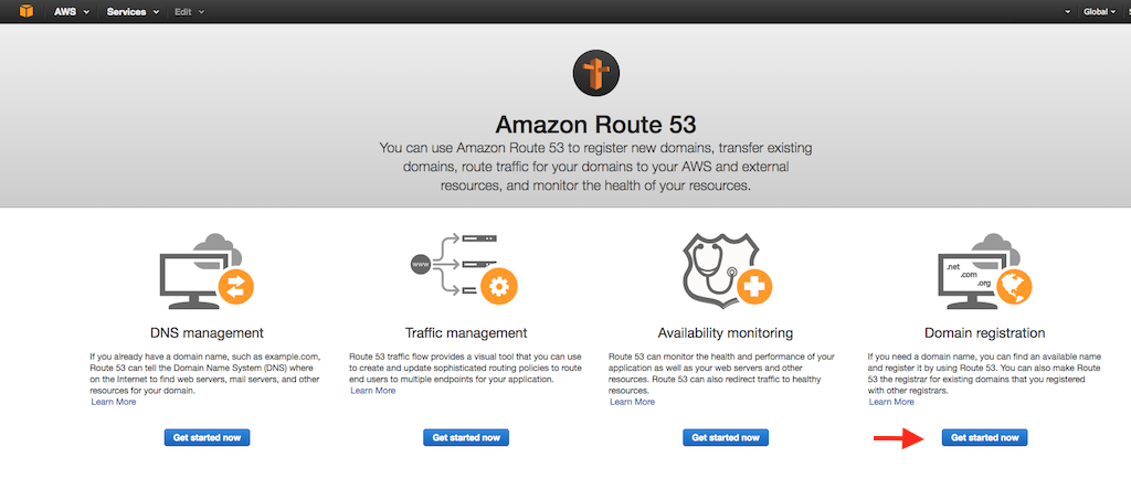 Screenshot showing the Amazon Route 53 homepage for a first-time Route 53 user during configuration of AWS GSLB (global server load balancing) with NGINX Plus