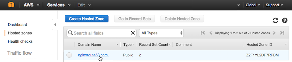 Screenshot showing how to access the Create Record Set interface for Route 53 hosted zone during configuration of AWS global load balancing (GLB) with NGINX Plus
