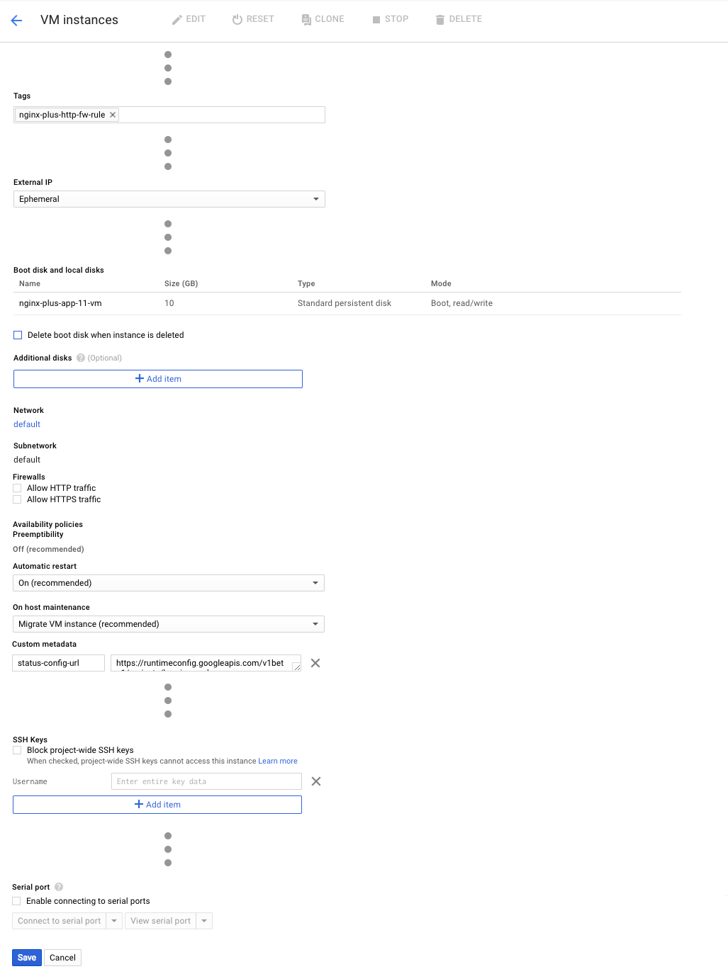 Screenshot showing the configuration modifications for a VM instance being deployed as part of setting up NGINX Plus as the Google load balancer.