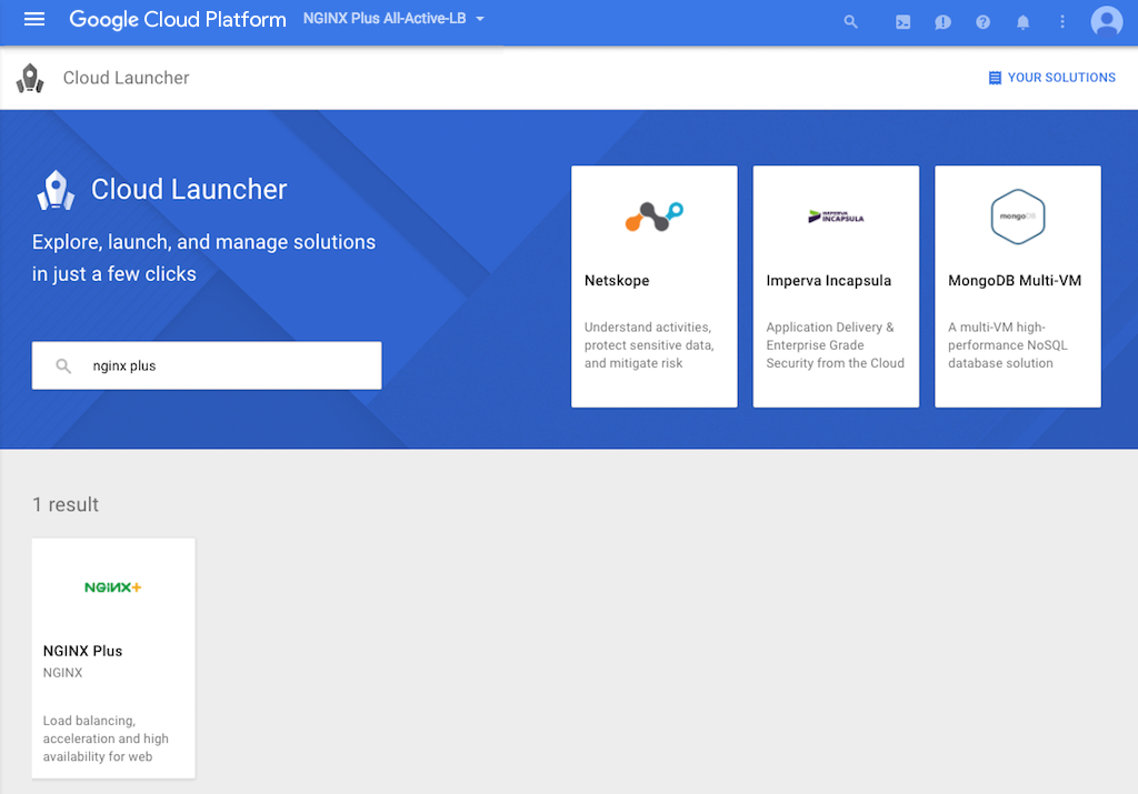 Screenshot of the Cloud Launcher home page on the Google Cloud Platform, which can be used to create a prebuilt NGINX Plus VM instance when deploying NGINX Plus as the load balancer for Google Cloud.