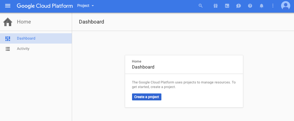 Screenshot of the Google Cloud Platform dashboard that appears when there are no existing projects (creating a project is the first step in configuring NGINX Plus as the Google Cloud load balancer)