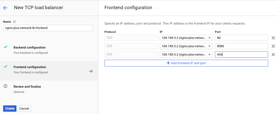 Screenshot of the interface for frontend configuration of GCE network load balancer, used during deployment of NGINX Plus as the Google Cloud load balancer.