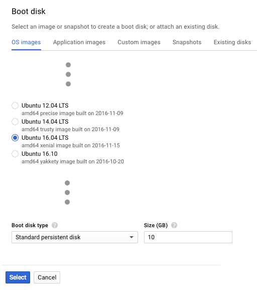 Screenshot of the 'Boot disk' page in Google Cloud Platform for selecting the OS on which a VM runs. In the deployment of NGINX Plus as the Google load balancer, we select Ubuntu 16.04 LTS.