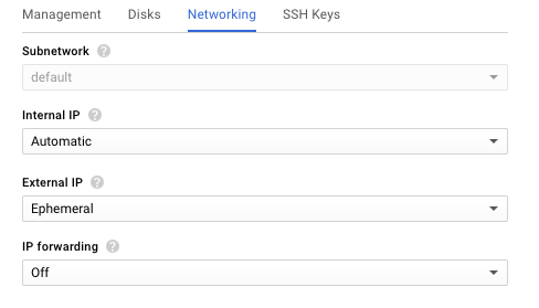 Screenshot of the Networking subtab used during creation of a new VM instance, part of deploying NGINX Plus as the Google Cloud load balancer.