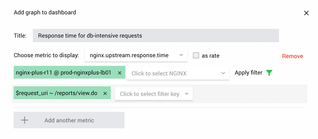 Screenshot showing how to improve NGINX performance with NGINX Amplify by creating a filter to track response time for database-intensive requests
