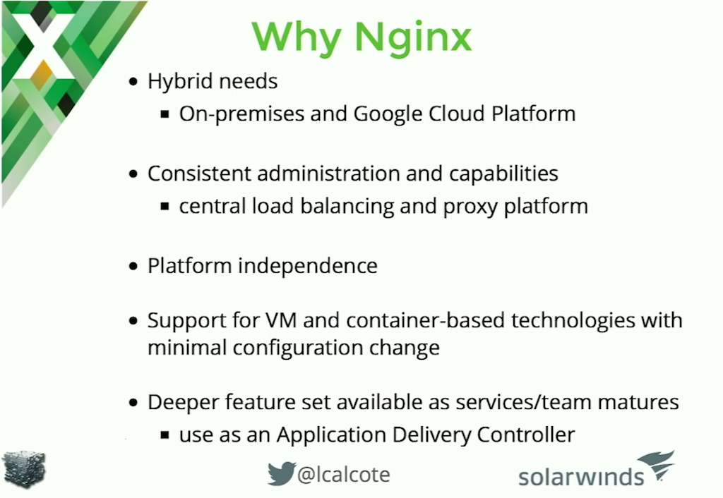Reasons to choose NGINX for a microservices architecture include platform independence--it's both an on premises and cloud load balancer--with a consistent interface