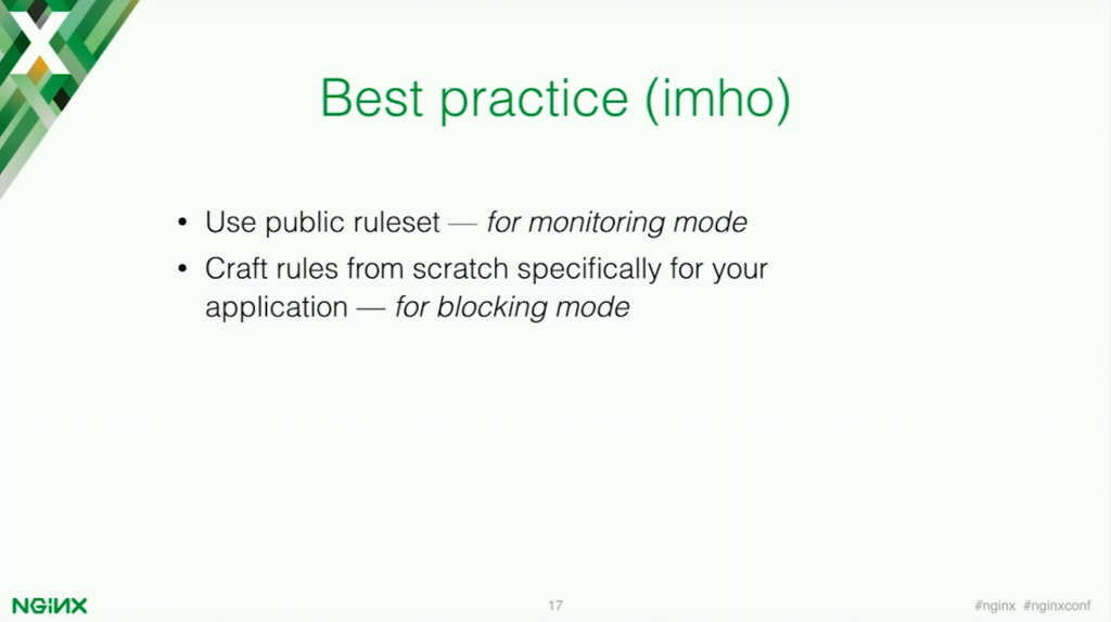 The best way to use ModSecurity for application security is to put it into monitoring mode, then craft rules from scratch that are tailored towards your specific application [presentation by Stepan Ilyan, cofounder of Wallarm, at nginx.conf 2016]