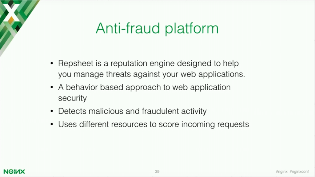Repsheet is an anti-fraud platform [presentation by Stepan Ilyan, cofounder of Wallarm, at nginx.conf 2016]
