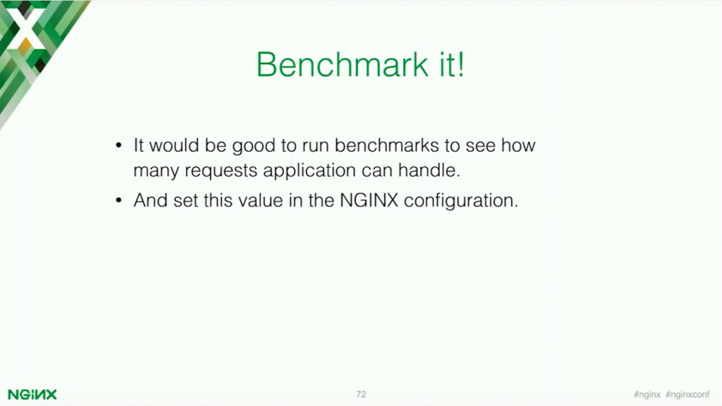 It is a good idea to benchmark your application [presentation by Stepan Ilyan, cofounder of Wallarm, at nginx.conf 2016]