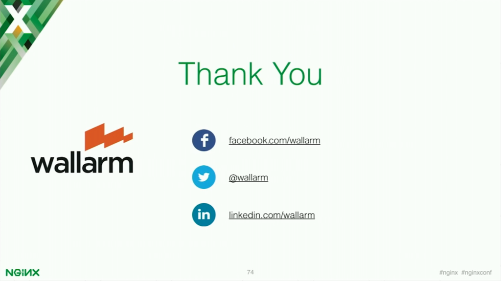 Thank you [presentation by Stepan Ilyan, cofounder of Wallarm, at nginx.conf 2016]