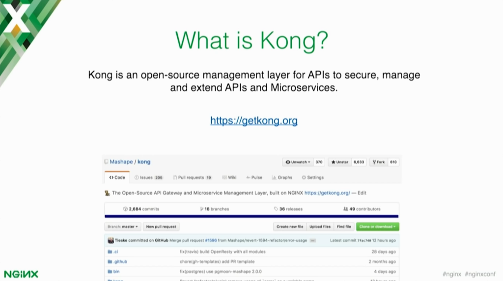 Kong is an open source management layer for APIs to secure, manage, and extend APIs and microservices