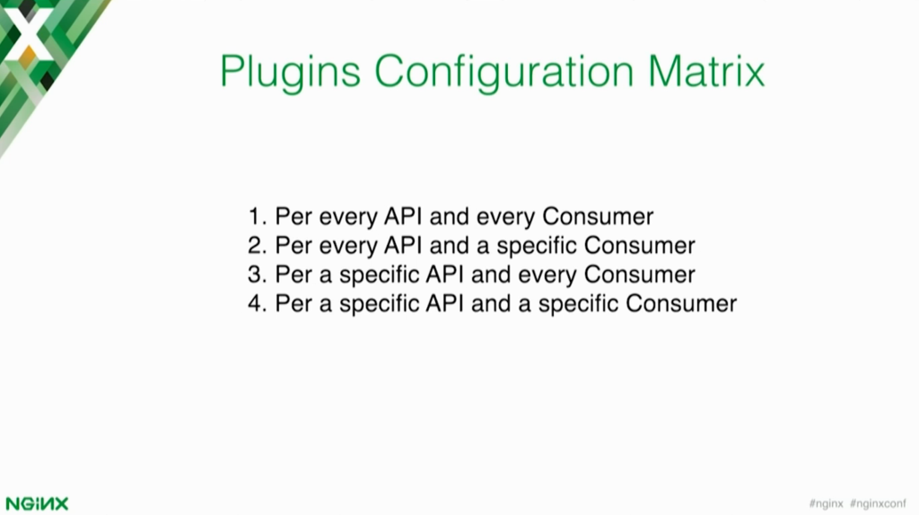 There are multiple ways to configure plug-ins - per every API and every consumer, per every API and a specific consumer, per a specific API and every consumer, or per a specific API and a specific consumer [presentation by Marco Palladino, CTO at Mashape.com at nginx.conf 2016]