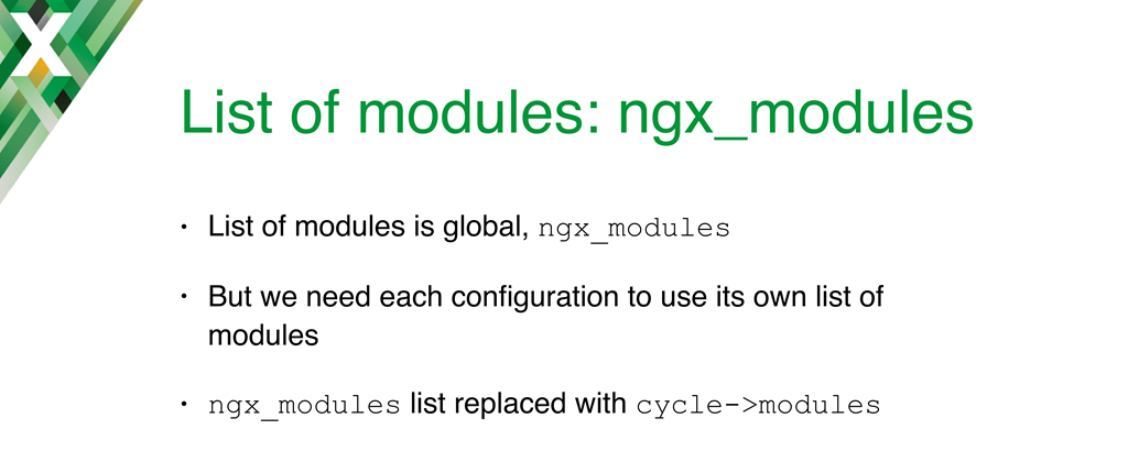 Implementing NGINX dynamic modules required changing how the list of modules is set; the ngx_modules global variable used for static compilation was replaced with cycle-modules