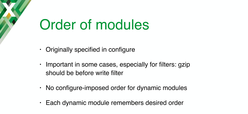 Implementing NGINX dynamic modules required adding code to use information recorded in a module to determine its place in the load order
