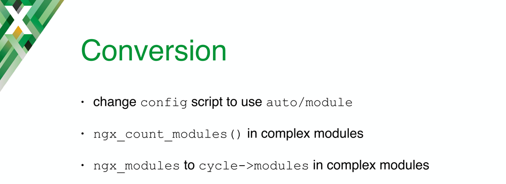 To convert a module from static compilation to dynamic loading, you need to rewrite the configuration script to use the 'auto/module' script; additional steps are necessary for more complex modules