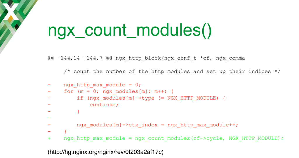For some NGINX dynamic modules, to convert from static compilation you need to replace the existing loop function with ngx_count_modules()